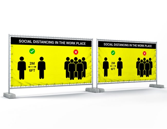 Social Distancing Heras Fence Mesh Banners